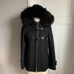 Zara Black Wool Toggle Winter Coat Faux Fur Hood S